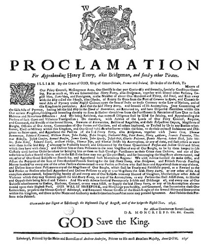 Great Britain - Proclamation for Apprehending Henry Every
