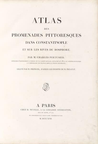 Promenades Pittoresques dans Constantinople Atlas - Title Page (1817)