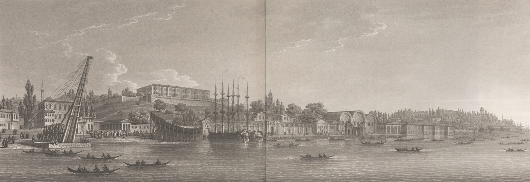 Promenades Pittoresques dans Constantinople Atlas - XI. Vue des Etablissements de la Marine (1817)