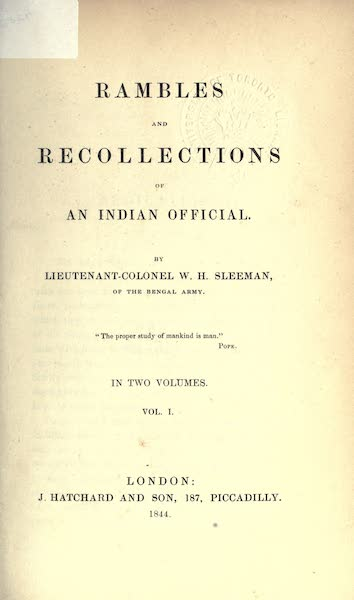 Rambles and Recollections of an Indian Official Vol. 1 - Title Page (1844)