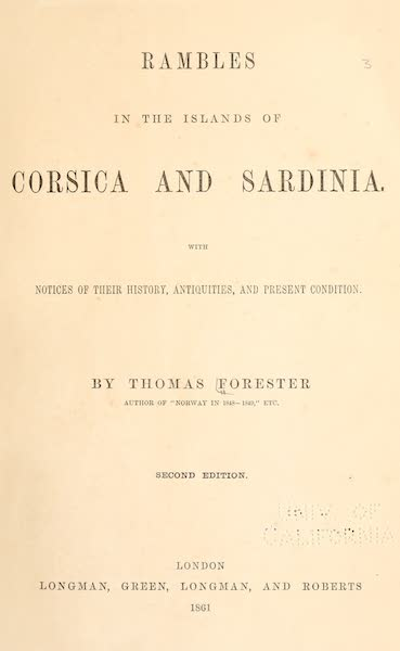 Rambles in the Islands of Corsica and Sardinia - Title Page (1861)