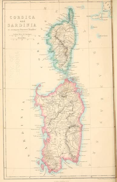 Rambles in the Islands of Corsica and Sardinia - Corsica And Sardinia [Map] (1861)
