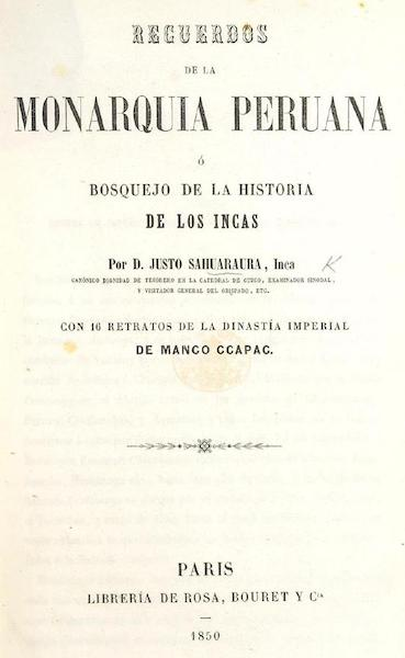 Recuerdos de la Monarquia Peruana - Title Page (1850)