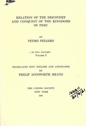 New World - Relation of the Discovery and the Conquest of the Kingdoms of Peru Vol. 1