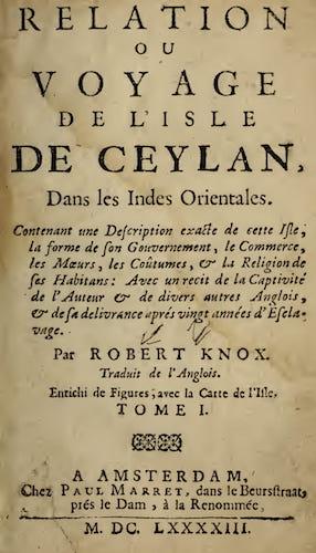 French - Relation ou Voyage de l'Isle de Ceylan