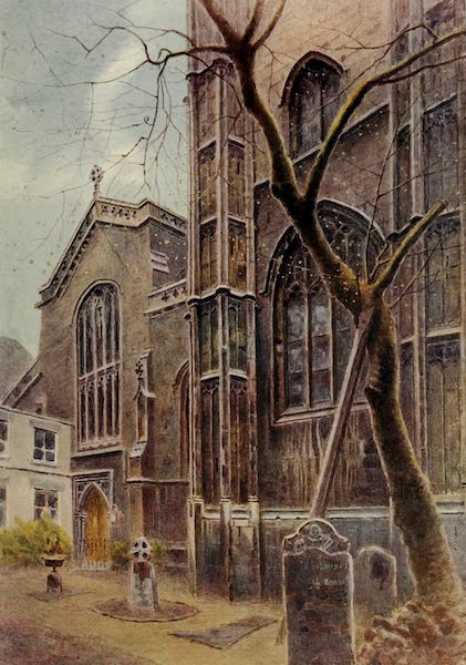 Relics & Memorials of London City - St. Mary Aldermary, from Bow Lane (1910)