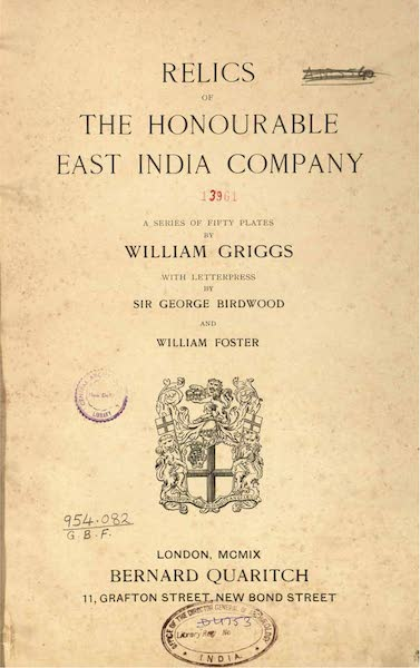 Relics of the Honourable British East India Company - Title Page (1909)