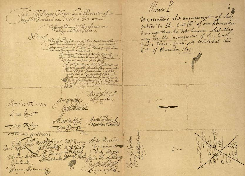 Relics of the Honourable British East India Company - Oliver Cromwell's Answer to a Petition of the East India Company for a Naval Convoy (1909)