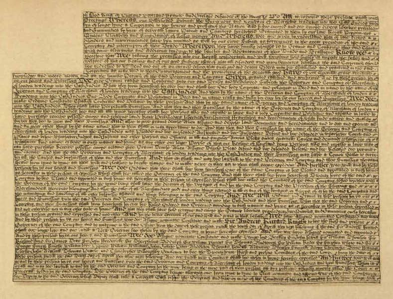 Relics of the Honourable British East India Company - (Sheet 1) Charter Granted by Charles II Dated 3 April 1661 Confirming and Extending Former Charters (1909)
