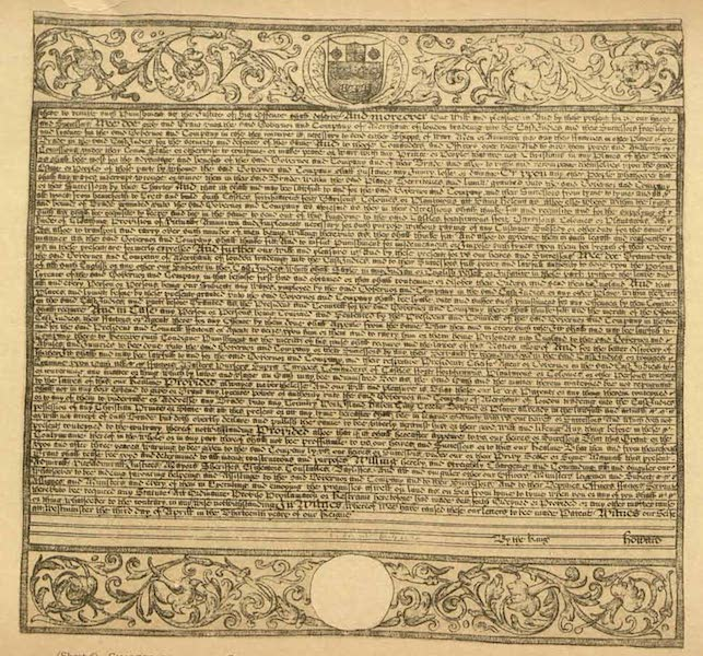 Relics of the Honourable British East India Company - (Sheet 6) (Sheet 1) Charter Granted by Charles II Dated 3 April 1661 Confirming and Extending Former Charters (1909)