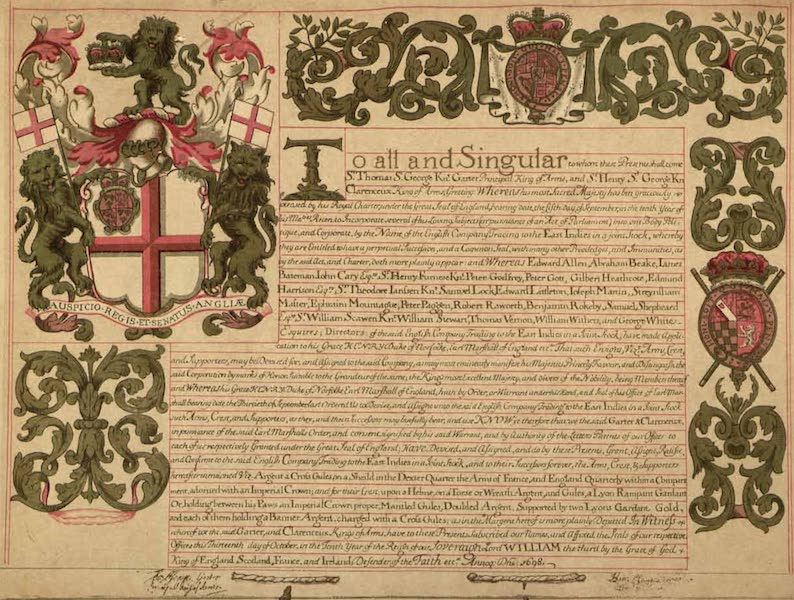 Relics of the Honourable British East India Company - Facsimile of Grant of Arms to the New East India Company Dated 13 Oct. 1698 (1909)
