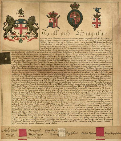 Relics of the Honourable British East India Company - Grant of Arms to the East India College, Haileybury, 21 Day of March, 1807 (1909)