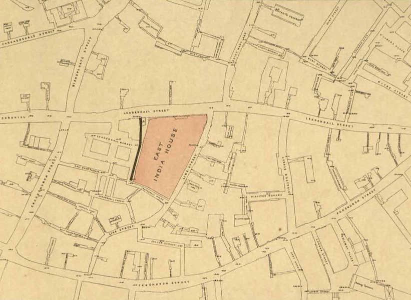 Relics of the Honourable British East India Company - Plan showing the site of the East India House, with the adjacent localities, 1860 (1909)