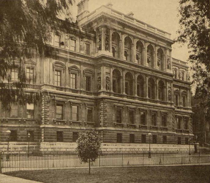 Relics of the Honourable British East India Company - Exterior of India Office, Whitehall, London - View from St. James Park (1909)