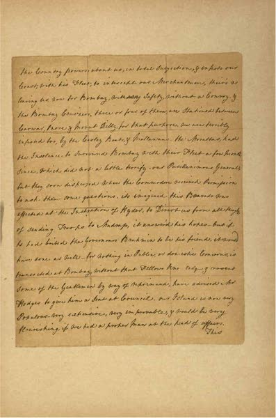 Relics of the Honourable British East India Company - A Letter from Eliza Draper, dated Tellicherry, April, 1769 [III] (1909)