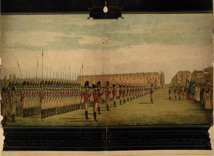 Relics of the Honourable British East India Company - Drawing of the Second Regiment taken on the spot while receiving the Colours from the hands of Lady Jane Dundas ... on the 27th day of July, 1797 (1909)
