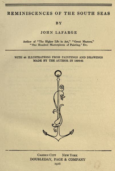 Reminiscences of the South Seas - Title Page (1912)