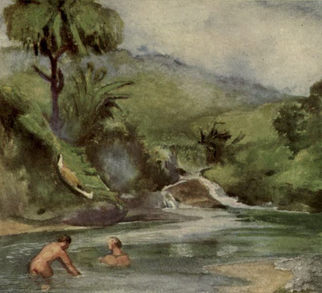 Reminiscences of the South Seas - Men Bathing in the River Near the Sea - Onomea, Island of Hawaii (1912)