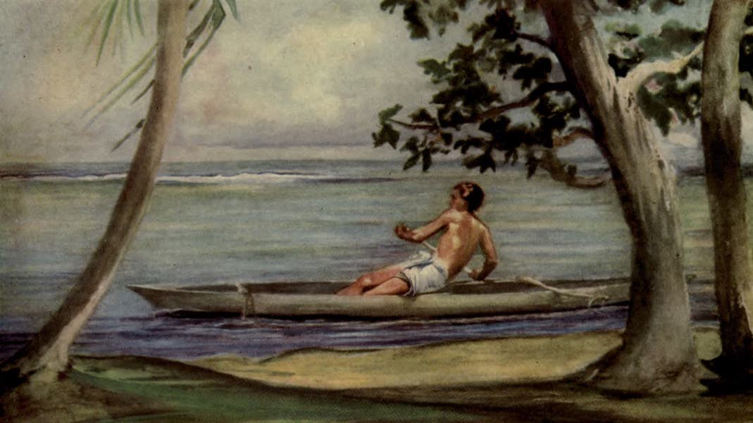 Reminiscences of the South Seas - Boy in Canoe Passing in Front of Our House, Vaiala, Samoa (1912)
