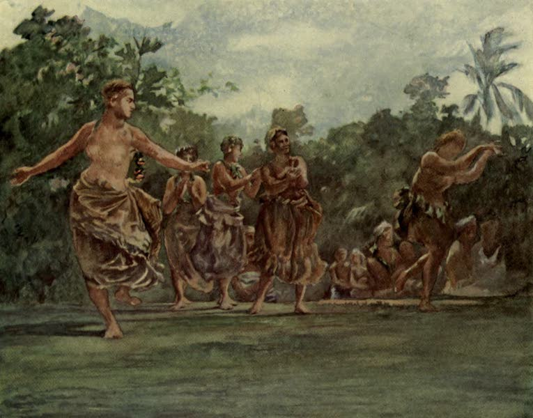 Reminiscences of the South Seas - Taupo and Attendants Dancing in Open Air - Iva in Savaii, Samoa (1912)