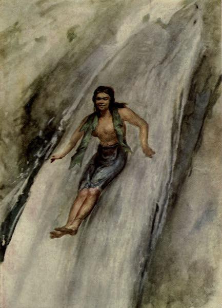 Reminiscences of the South Seas - Girl Sliding Down Waterfall - Banana Leaf Around Her Body, Samoa (1912)