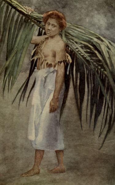 Reminiscences of the South Seas - Samoan Girl Carrying Palm Branch (1912)