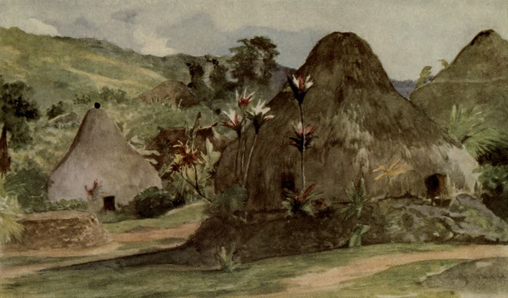 Reminiscences of the South Seas - Edge of Village of Nasogo in Mountain of the Northeast of Viti Levu, Fiji (1912)