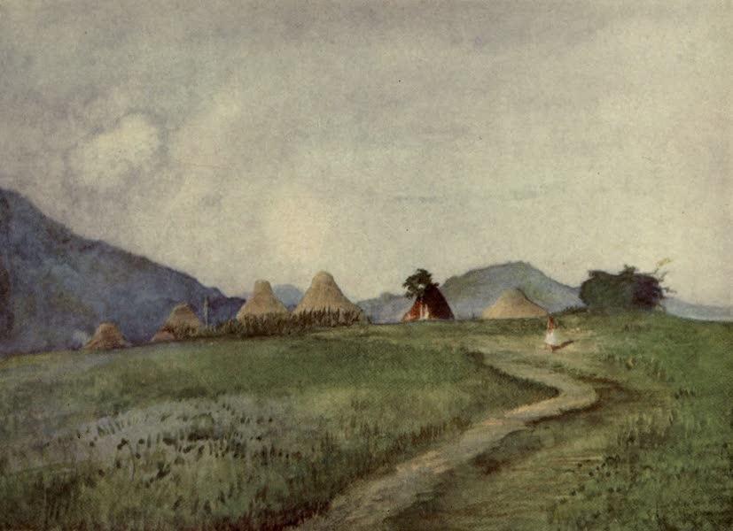 Reminiscences of the South Seas - A Stufy of Huts at End of Village, Matakula, Fiji (1912)