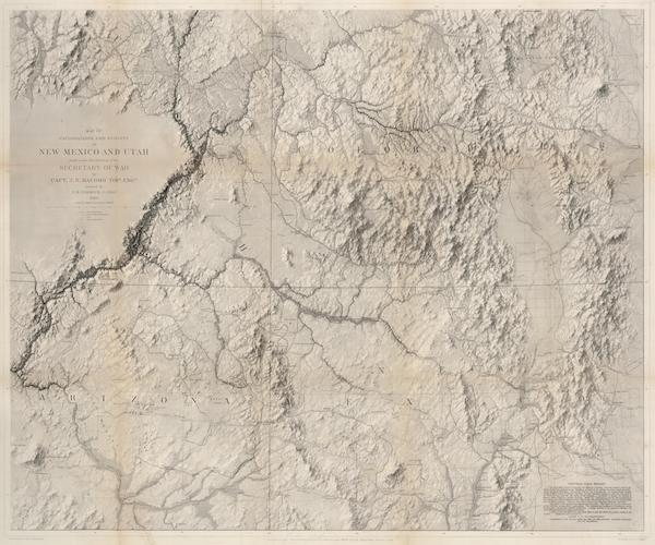 Report of the Exploring Expedition from Santa Fe - Map of Exploration and Surveys in New Mexico and Utah (1876)