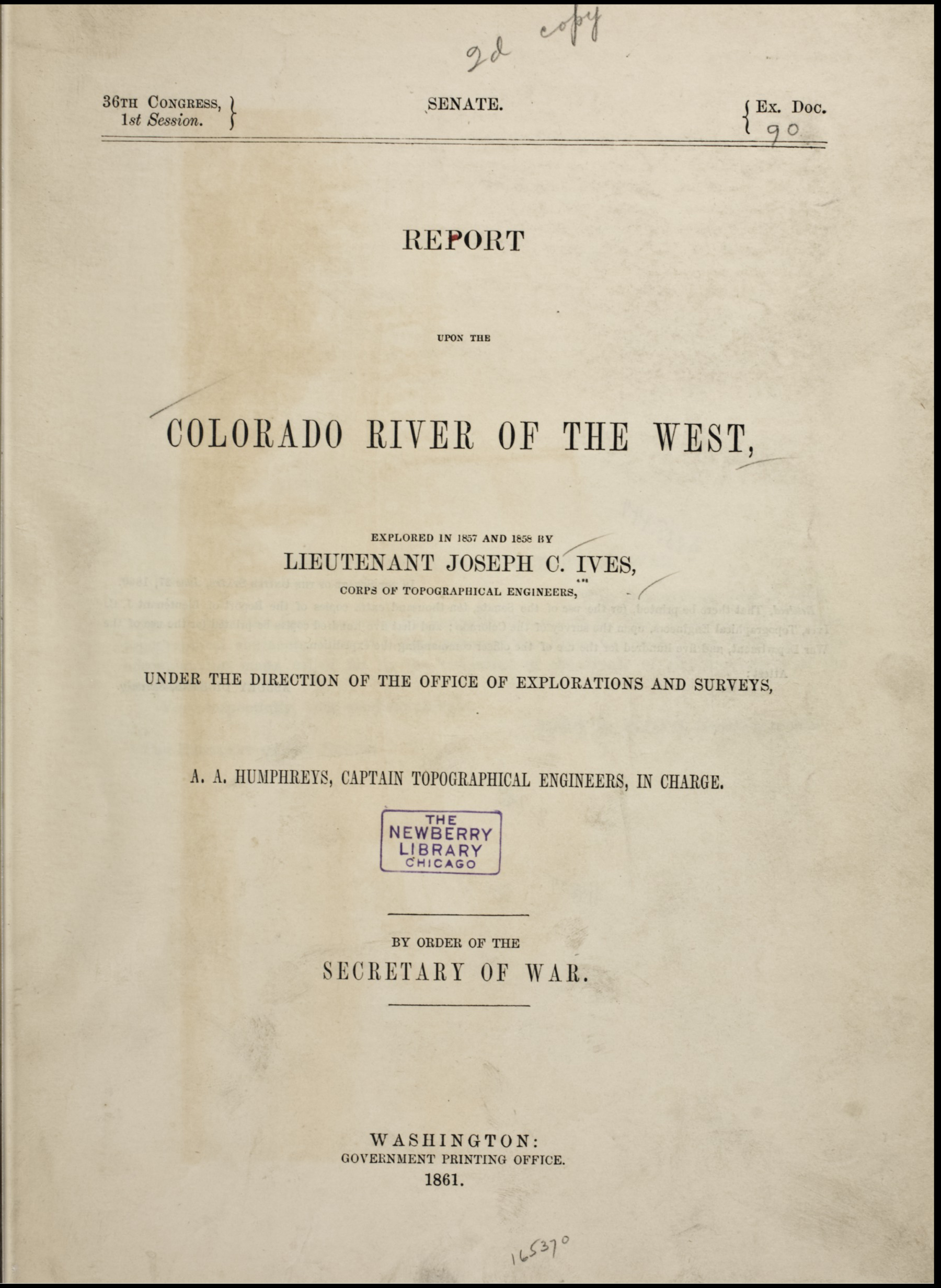 Report Upon the Colorado River of the West (1861)