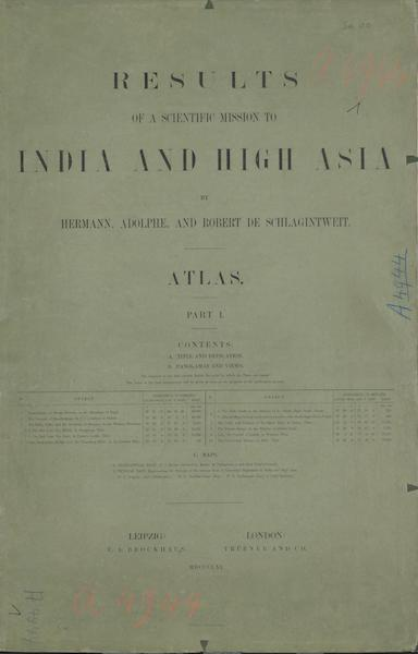 Results of a Scientific Mission to India and High Asia Atlas - Colored Wrapper Front Cover (1866)