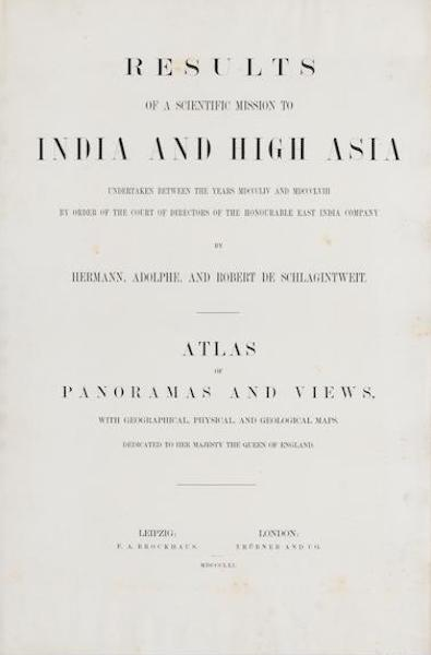Results of a Scientific Mission to India and High Asia Atlas - Title Page (1866)