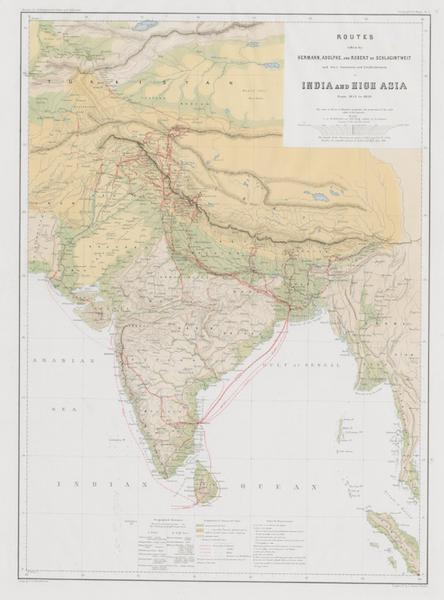 Results of a Scientific Mission to India and High Asia Atlas - Routes in High Asia (1866)