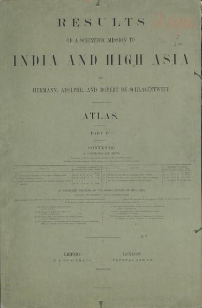 Results of a Scientific Mission to India and High Asia Atlas - Part II Colored Wrapper (1866)