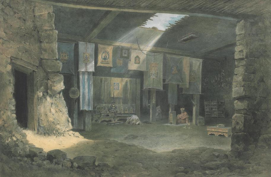 Results of a Scientific Mission to India and High Asia Atlas - Interior of the Buddhistic Temple of the Monastery Mangnang in Gnari Khorsum (1866)