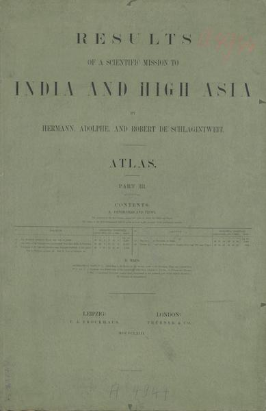 Results of a Scientific Mission to India and High Asia Atlas - Part III Colored Wrapper (1866)