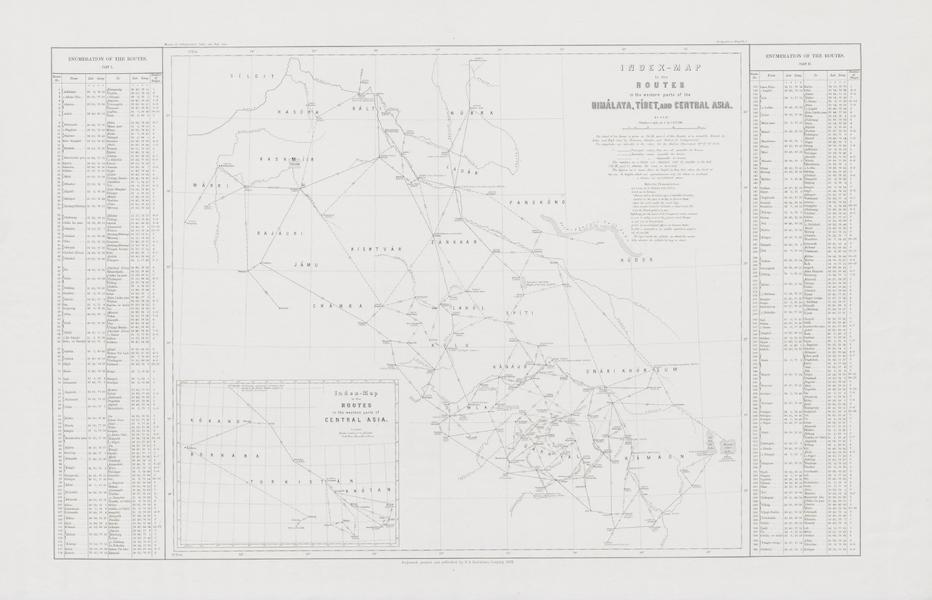 Results of a Scientific Mission to India and High Asia Atlas - Index Map of Routes (1866)