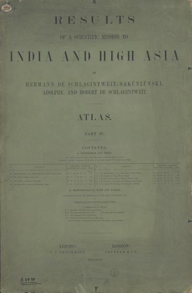 Results of a Scientific Mission to India and High Asia Atlas - Part IV Colored Wrapper (1866)