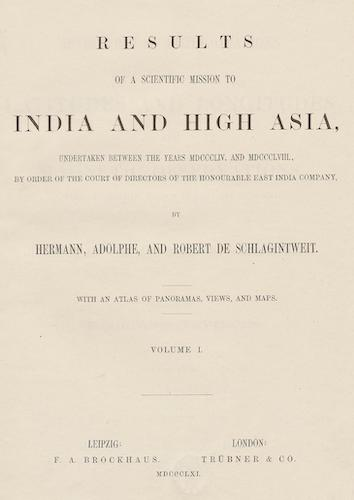 Results of a Scientific Mission to India and High Asia Vol. 1 (1861)