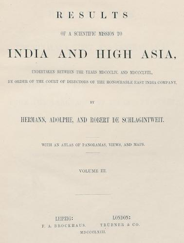 Results of a Scientific Mission to India and High Asia Vol. 3 (1863)