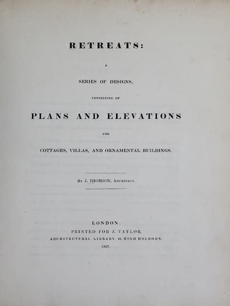 Retreats : A Series of Designs - Title Page (1827)