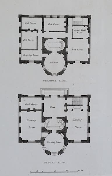 Retreats : A Series of Designs - Family Residence - Chamber Plan and Ground Plan (1827)