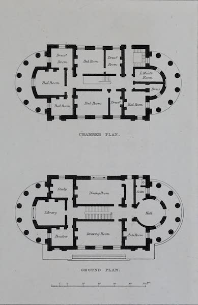 Retreats : A Series of Designs - Gothic Villa - Chamber Plan and Ground Plan (1827)