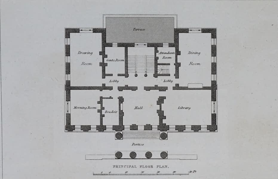 Retreats : A Series of Designs - Doric Villa - Principal Floor Plan (1827)