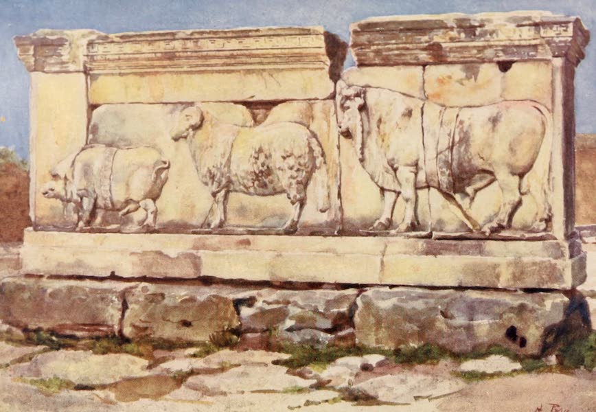 Rome, Painted and Described - Marble relief of the Ambarvalia Sacrifice in the Forum (1905)
