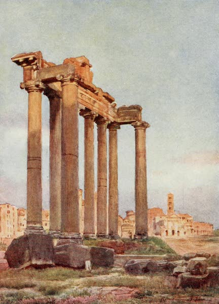 Rome, Painted and Described - Temple of Saturn from the Portico of the Dii Consentes (1905)