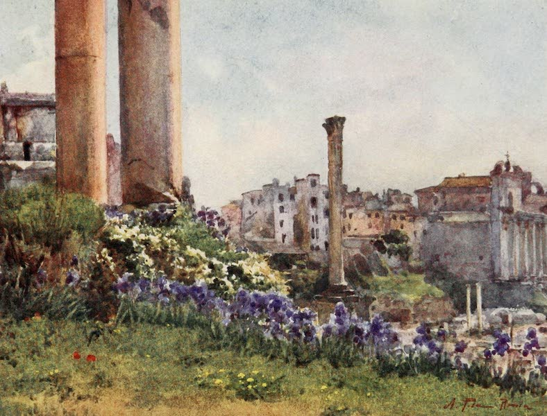 Rome, Painted and Described - Corner of the Forum from the base of the Temple of Saturn (1905)
