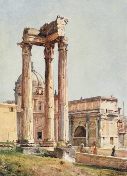 Rome, Painted and Described - Temple of Vespasian from the Portico of the Dii Consentes (1905)