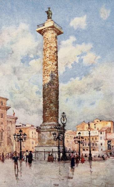 Rome, Painted and Described - Column of Marcus Aurelius, Piazza Colonna (1905)
