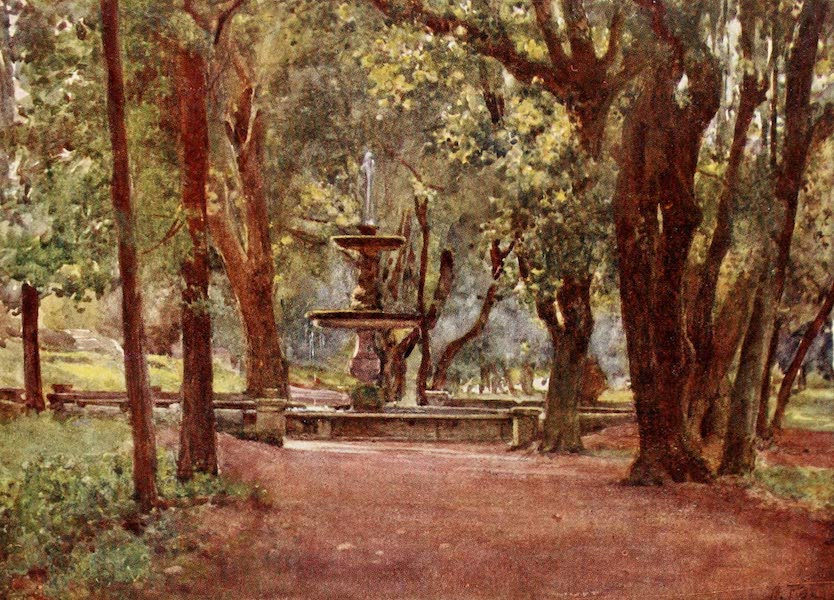 Rome, Painted and Described - Ilex Avenue and Fountain (Fontana scura) Villa Borghese (1905)